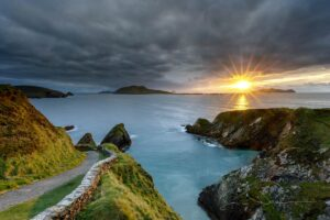 Dunquin Pier at sunset, departure point for ferries to the Great Blasket Island in Kerry. Ireland